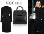 Elizabeth Banks' Alexander McQueen Belted Coat And Alexander McQueen 'Heroine' Bag