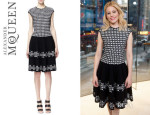Elizabeth Banks' Alexander McQueen Fit-and-Flare Jacquard Dress
