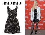 Elle Fanning's Miu Miu Printed Silk-Faille Mini Dress