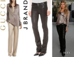 Fergie's Gucci Metallic Gray Liquid Tunic And  J Brand 'Brooke' Leather Pants