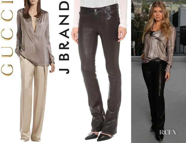 Fergie's Gucci Metallic Gray Liquid Tunic And  J Brand 'Brooke' Leather Pants1