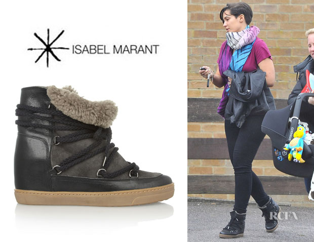 Frankie Sandford's Isabel Marant 'Nowles' Shearling-Lined Boots