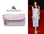 Gemma Chan's Burberry Prorsum Petal Leather-Trimmed PVC Clutch