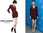 Gwei Lun Mei's Saint Laurent 'Lips' Long-Sleeve Crossover Dress