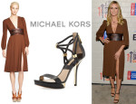 Heidi Klum's Michael Kors Leather Belted Pleat Dress And Michael Kors 'Fariha' Braid-Strap Sandals