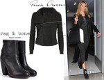 Heidi Klum's Rick Owens 'Blister' Washed-Leather Biker Jacket And Rag & Bone 'Newbury' Ankle Boots