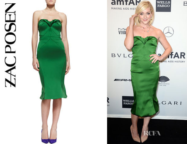 Jane Krakowski's Zac Posen Strapless Sweetheart Satin Dress