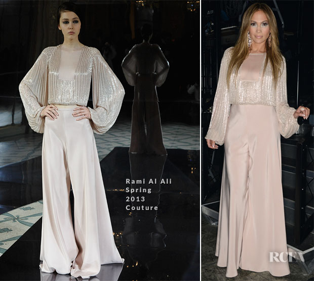 Jennifer Lopez In Rami Al Ali Couture - American Idol Season Thirteen Guys Perform Live Show