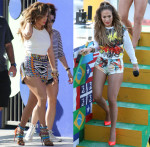 """Jennifer Lopez In Sachin + Babi, Cédric Charlier, Milly & Emilio Pucci - """"We Are One (Ole Ola)"""" Music Video Shoot"""