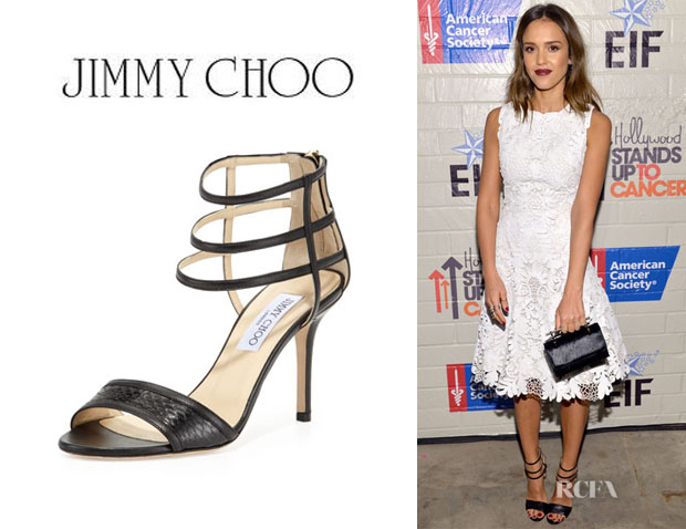 Jessica Alba's Jimmy Choo 'Tarika' Snake And Napa Cage Sandals