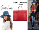 Jessica Alba's Saint Laurent	'Sac De Jour' Leather Tote And Janessa Leone 'Sara' Hat