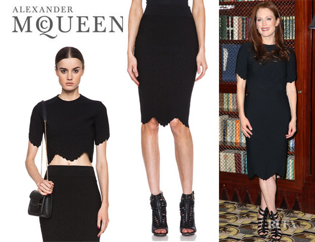 Julianne Moore's Alexander McQueen Embossed Top And Alexander McQueen Embossed Pencil Skirt