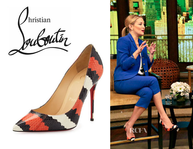 Kate Hudson's Christian Louboutin 'Decollette' Striped Snakeskin Pumps
