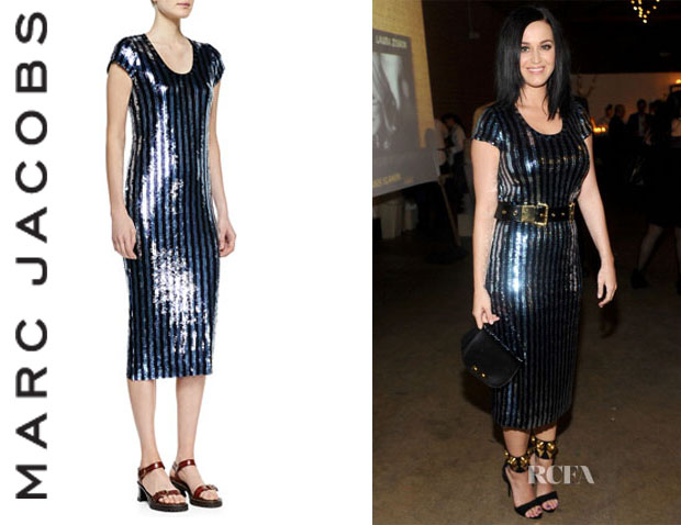 Katy Perry's Marc Jacobs Striped Sequins Midi Dress