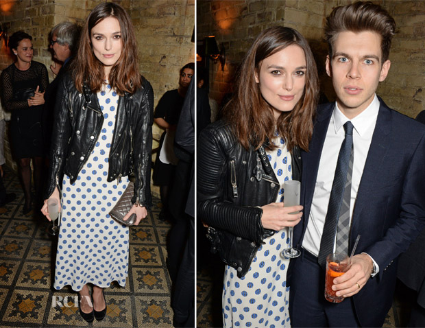 Keira Knightley In Burberry - Harvey Weinstein's Pre-BAFTA Dinner