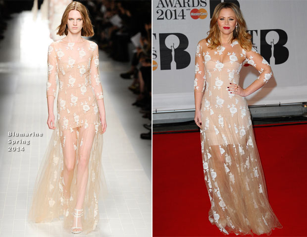 Kimberley Walsh In Blumarine - Brit Awards 2014