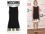 Laura Carmichael's Moschino Cheap and Chic Piano Key-Print Dress