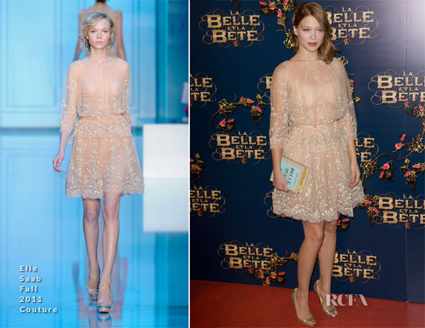 Lea Seydoux In Elie Saab Couture – 'La Belle & La Bete' Paris Premiere 2