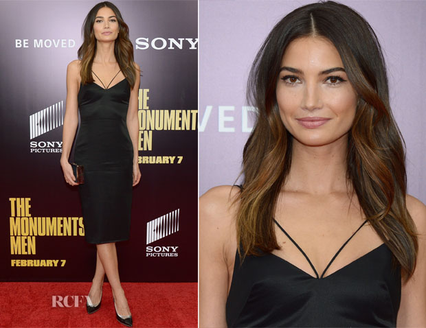 Lily Aldridge In Cushnie et Ochs - 'The Monuments Men' LA Premiere