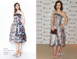 Lily Collins In Mary Katrantzou - Lancome Pre BAFTA Party