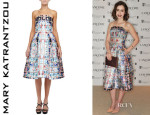 Lily Collins' Mary Katrantzou 'Nevis' Bustier Dress