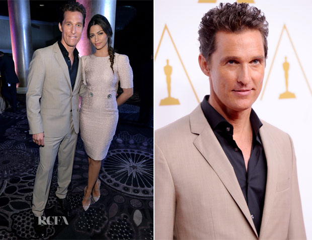 Matthew McConaughey In Hugo Boss and Camila Alves In Dolce & Gabbana - 86th Academy Awards Nominee Luncheon