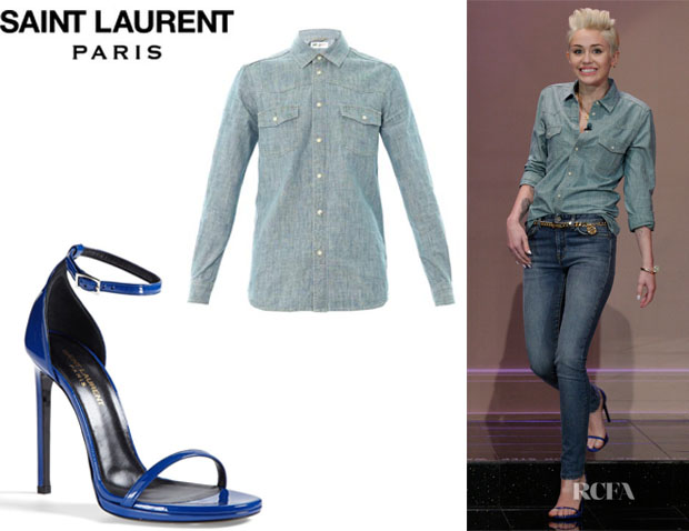 Miley Cyrus' Saint Laurent Blue Chambray Shirt And Saint Laurent 'Jane' Ankle Strap Sandals