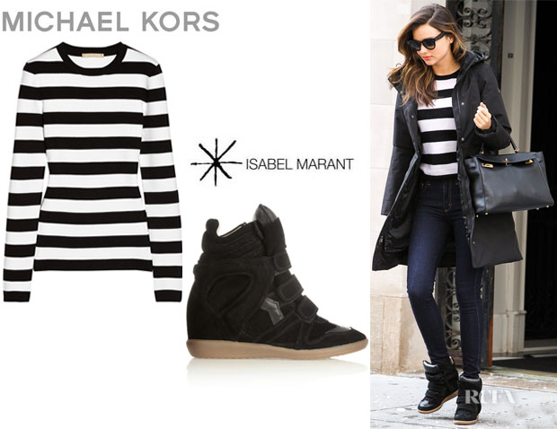Miranda Kerr's Michael Kors Striped Cotton Sweater And Isabel Marant 'Bekett' Sneakers