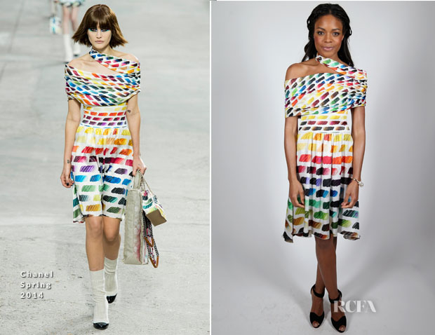 Naomie Harris In Chanel - Charles Finch & Chanel Pre BAFTA Party