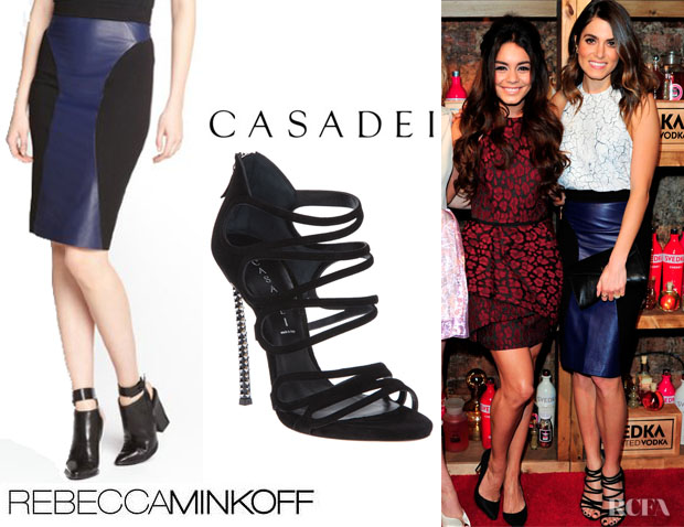 Nikki Reed's Rebecca Minkoff 'Della' Pencil Skirt And Casadei Stiletto Sandals