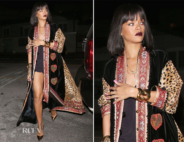 Rihanna In Vintage Moschino - Giorgio Baldi Restaurant