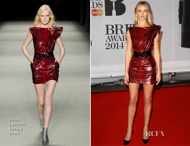 Rosie Huntington-Whiteley In Saint Laurent - Brit Awards 2014