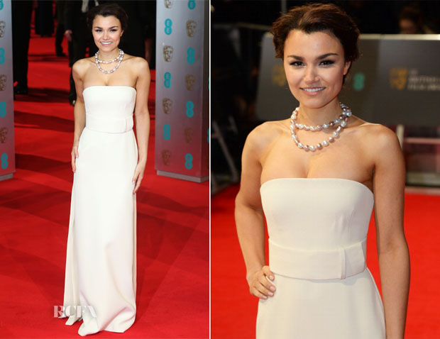 Samantha Barks In Cavlin Klein Collection - BAFTAs 2014