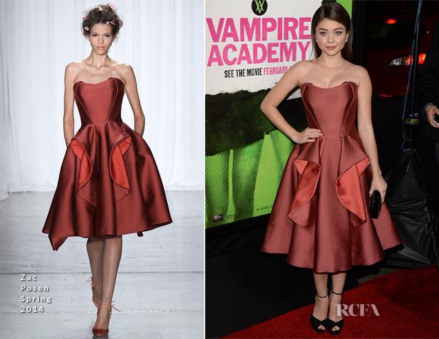 Sarah Hyland In Zac Posen - 'Vampire Academy' LA Premiere