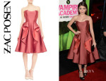 Sarah Hyland's Zac Posen Strapless Ruffle Cocktail Dress