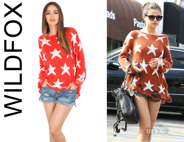 Selena Gomez' Wildfox 'Seeing Stars' Loose Knit Sweater1