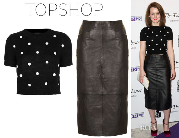 Sophie McShera's Topshop Knitted Flower Crop Top And Topshop Leather Calf Pencil Skirt