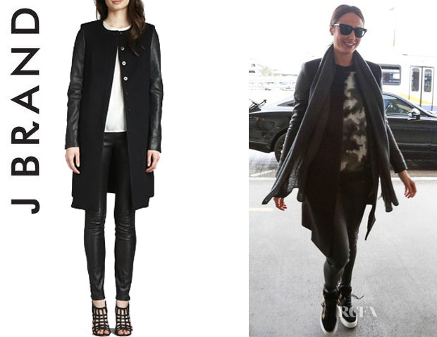 Stacy Keibler's J Brand 'Emilie' Leather-Sleeve Coat