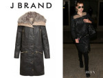 Suki Waterhouse's J Brand 'Alvarez' Shearling-Lined Coat