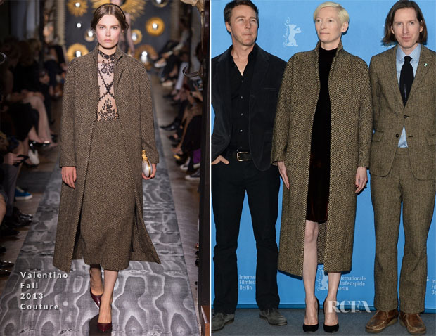 Tilda Swinton In Valentino Fall 2013 Couture - 'The Grand Budapest Hotel' Berlinale Film Festival Photocall