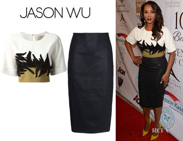 Vivica A. Fox's Jason Wu Cropped Colour Block Top And Jason Wu Knee length skirt