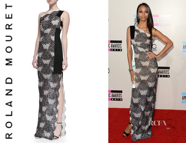 Zoe Saldana's Roland Mouret One-Shoulder Lace Gown