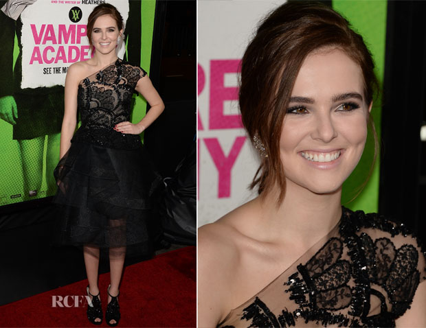Zoey Deutch In Monique Lhuillier - 'Vampire Academy' LA Premiere