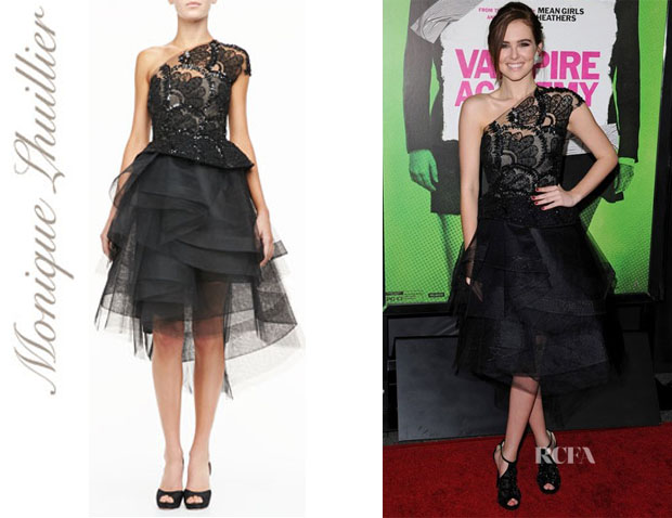 Zoey Deutch's Monique Lhuillier Beaded Lace One-Should Cocktail Dress