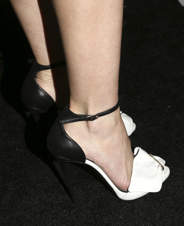 Jaime King in Giuseppe Zanotti 'Safety Pin' leather sandals