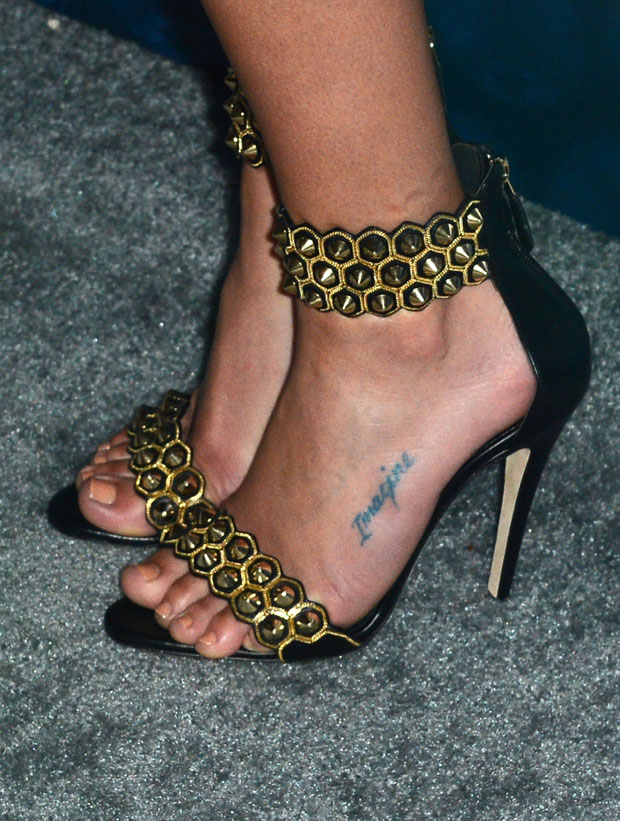 Lea Michele's Brian Atwood Abell Studded Ankle-Cuff Leather Sandals