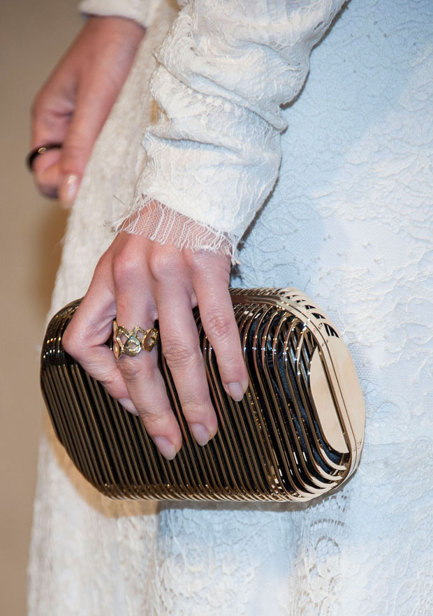 Lizzy Caplan's Jimmy Choo clutch
