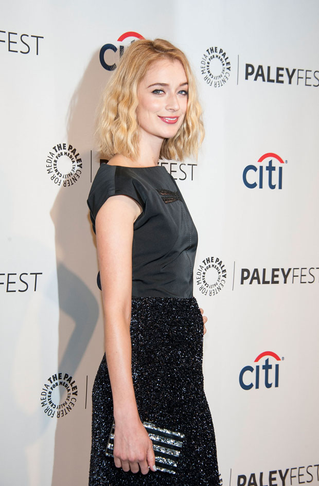 Caitlin Fitzgerald in Thakoon and Edie Parker clutch