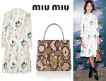 Alexa Chung's Miu Miu Printed Crepe Dress And Miu Miu Python Tote