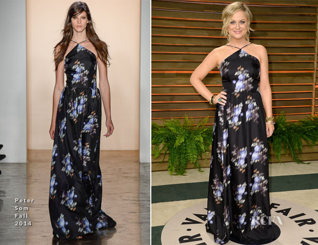 Amy Poehler In Peter Som - Vanity Fair Oscar Party 2014